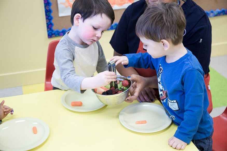 Lunch time at daycare: healthy nutritious lunch for kids